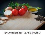 vegetables on wooden background ... | Shutterstock . vector #375849250