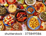 tapas from spain varied mix of... | Shutterstock . vector #375849586