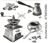 coffee accessories drawings | Shutterstock . vector #375853480
