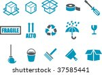 Vector icons pack - Blue Series, moving collection - stock vector