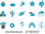 Vector icons pack - Blue Series, nature collection - stock vector