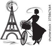 black silhouette of a parisian... | Shutterstock .eps vector #375867664