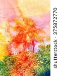 Retro Watercolor Tropical Palm...