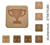 set of carved wooden trophy cup ...