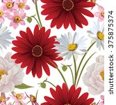 floral seamless patterns with... | Shutterstock .eps vector #375875374