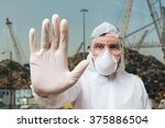 technician in coverall showing... | Shutterstock . vector #375886504