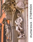 Small photo of Sculptures on old prefecture building alias palazzo Rangoni Farnese at downtown of Parma, Emilia-Romagna, Italy