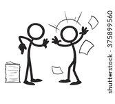 stick figure confrontation... | Shutterstock .eps vector #375899560