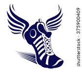 sport shoe with wings   vector... | Shutterstock .eps vector #375900409