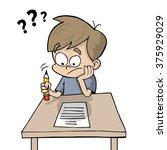kid doing homework   Shutterstock .eps vector #375929029