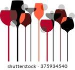 wine glasses liquor cocktails   Shutterstock .eps vector #375934540