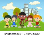 children playing in the park... | Shutterstock . vector #375935830