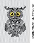 cute decorative ornamental owl. ... | Shutterstock .eps vector #375942040