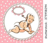 portrait of little baby  child  ... | Shutterstock .eps vector #375958294