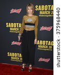 "Small photo of LOS ANGELES, CA - MARCH 19, 2014: Cody Horn at the premiere of ""Sabotage"" at Regal Cinemas L.A. Live."