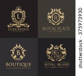 luxury gold crest logo... | Shutterstock .eps vector #375973930