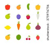 set of vector flat fruits vol.3 | Shutterstock .eps vector #375976756
