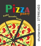 pizza party.vector illustration | Shutterstock .eps vector #375981403
