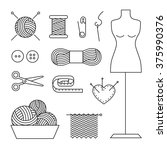 knitting line art icons vector... | Shutterstock .eps vector #375990376