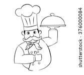 master chef black line vector | Shutterstock .eps vector #376000084