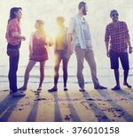 diverse beach summer friends... | Shutterstock . vector #376010158