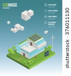 3d isometric eco house concept. ... | Shutterstock .eps vector #376011130
