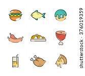 foods flat icon set | Shutterstock .eps vector #376019359