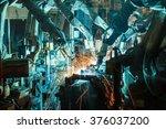 team welding robots represent... | Shutterstock . vector #376037200