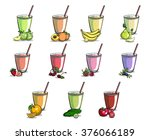 set of different smoothies with ... | Shutterstock .eps vector #376066189