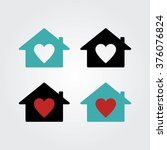 house with heart icon. real... | Shutterstock .eps vector #376076824