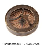 Ancient Brass Compass And...