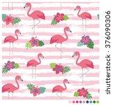 flamingo seamless vector... | Shutterstock .eps vector #376090306