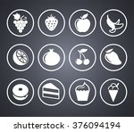 food sweets and snacks on grey... | Shutterstock .eps vector #376094194