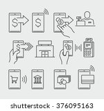 mobile payment vector icons  | Shutterstock .eps vector #376095163