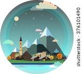 alpine landscape illustration.... | Shutterstock . vector #376101490