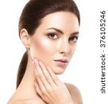 beautiful woman face close up... | Shutterstock . vector #376105246