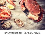 steamed crab  shrimps and fresh ... | Shutterstock . vector #376107028