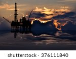 illustration of oil platform on ... | Shutterstock . vector #376111840