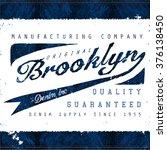 brooklyn denim tee graphic | Shutterstock .eps vector #376138450