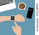 hand using smart watch similar...   Shutterstock .eps vector #376138900