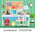 cool modern teenager room with... | Shutterstock .eps vector #376139740