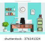 cool graphic office room... | Shutterstock .eps vector #376141324