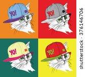 portrait of cat in the glasses... | Shutterstock .eps vector #376146706