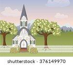 Spring Church Scene. A...