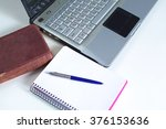 office table with blank notepad ...   Shutterstock . vector #376153636