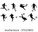 soccer players moves vector...   Shutterstock .eps vector #37615801