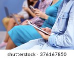 young people sitting on a... | Shutterstock . vector #376167850