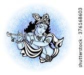 krishna playing the flute.... | Shutterstock .eps vector #376168603