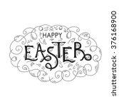 happy easter hand lettering... | Shutterstock .eps vector #376168900
