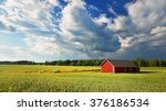 red warehouse in finland in the ... | Shutterstock . vector #376186534